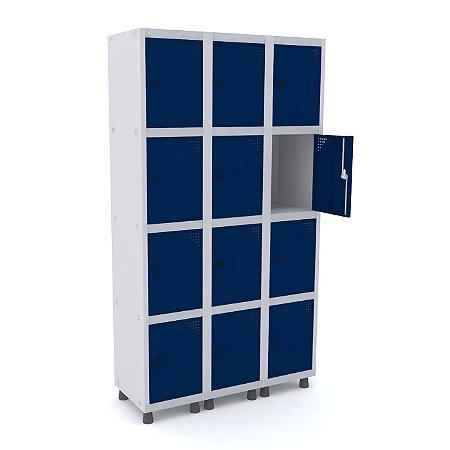 Roupeiro de Aco 3 Vaos 12 Portas com Pitao Pandin Cinza e Azul Del Rey  1,90 M