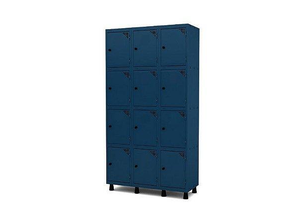Roupeiro de Aco 3 Vaos 12 Portas com Pitao Pandin Azul Del Rey  1,90 M