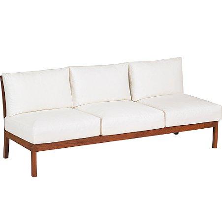 Sofa 3 Lugares Sem Bracos C  Madeira Jatoba e Estofado Acquablock Fitt Tramontina Branco 70 Cm