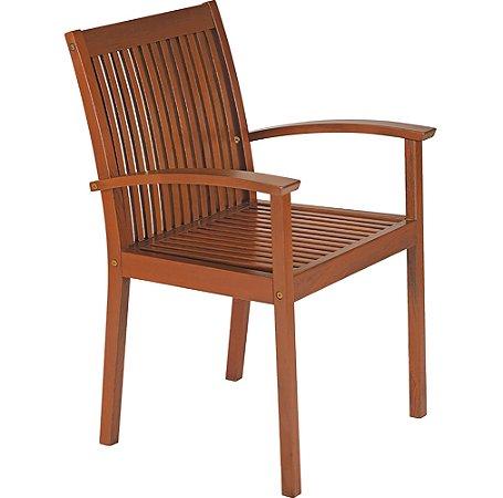Cadeira de Madeira em Jatoba com Acabamento Eco Blindage Com Braco Tramontina
