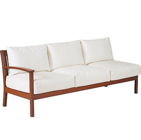 Sofa em Jatoba com Acabamento Eco Blindage Com Estofado Impermeavel Tramontina Branco 70 Cm