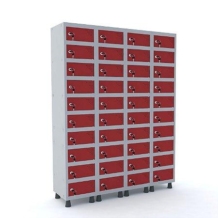Armario Porta Objetos de Aco 4 Vaos 40 Portas Pandin Cinza e Vermelho  1,90 M