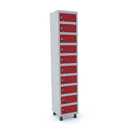 Armario Porta Objetos de Aco 1 Vao 10 Portas Pandin Cinza e Vermelho  1,90 M