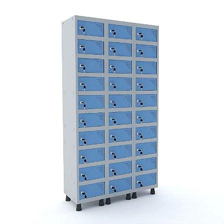 Armario Porta Objetos de Aco 3 Vaos 30 Portas Fechadura Pandin Cinza e Azul Dali  1,90 M