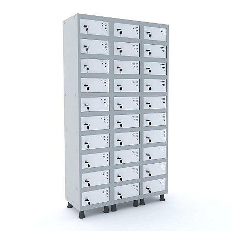 Armario Porta Objetos de Aco 3 Vaos 30 Portas Pandin Cinza e Branco  1,90 M