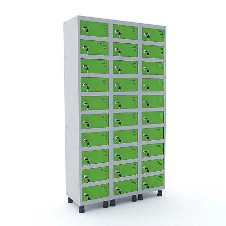 Armario Porta Objetos de Aco 3 Vaos 30 Portas Pandin Cinza e Verde Miro  1,90 M