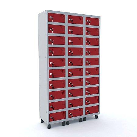 Armario Porta Objetos de Aco 3 Vaos 30 Portas Pandin Cinza e Vermelho  1,90 M