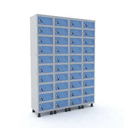 Armario Porta Objetos de Aco 4 Vaos 40 Portas Pandin Cinza e Azul Dali