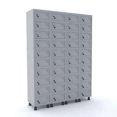 Armario Porta Objetos de Aco 4 Vaos 40 Portas Pandin Cinza Cristal  1,90 M