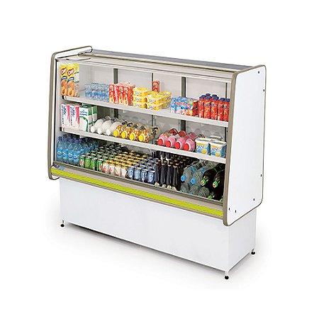 Balcao Refrigerado Vidro Reto com Pista Dupla Pop Luxo Polofrio Branco e Amarelo  1,0 M 220 V