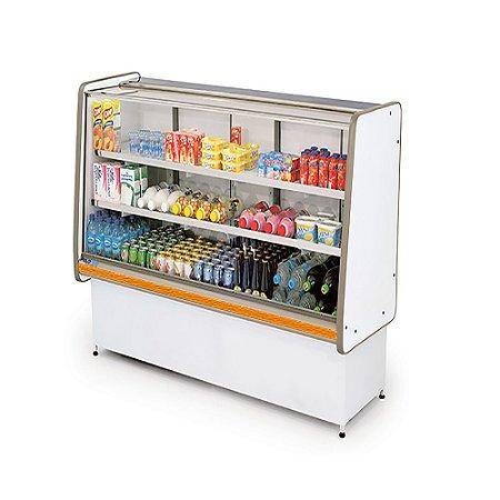 Balcao Refrigerado Vidro Reto com Pista Dupla Pop Luxo Polofrio Branco e Laranja  1,0 M 220 V