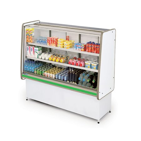 Balcao Refrigerado Vidro Reto com Pista Dupla Pop Luxo Polofrio Branco e Verde  1,0 M 220 V