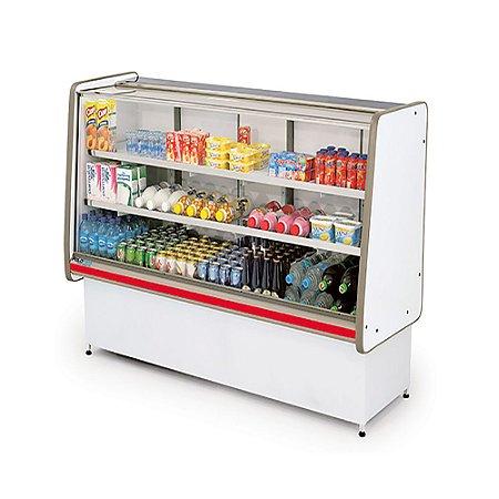 Balcao Refrigerado Vidro Reto com Pista Dupla Pop Luxo Polofrio Branco e Vermelho  1,0 M 220 V