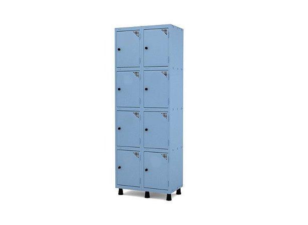 Roupeiro de Aco 2 Vaos 8 Portas com Pitao Pandin Azul Dali  1,90 M