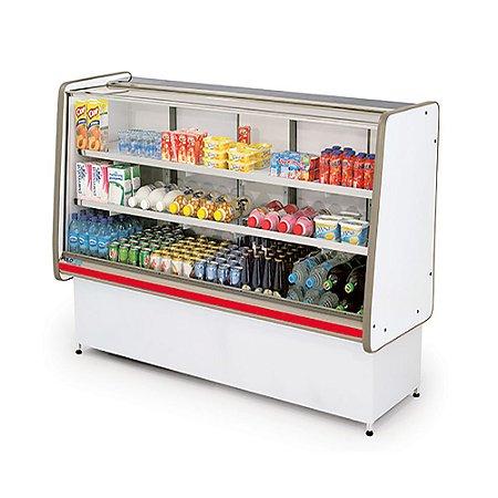 Balcao Refrigerado Vidro Reto com Pista Dupla Pop Luxo Polofrio Branco e Vermelho  1,25 M 220 V