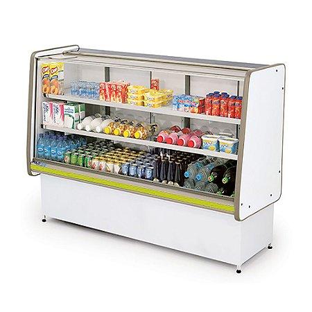 Balcao Refrigerado Vidro Reto com Pista Dupla Pop Luxo Polofrio Branco e Amarelo  1,50 M 220 V