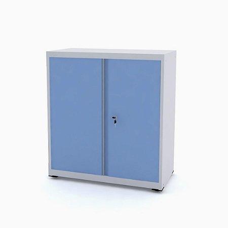 Armario de Aco Baixo com Tampo De Madeira Ap406sl Pandin Cinza e Azul Dali 84 Cm