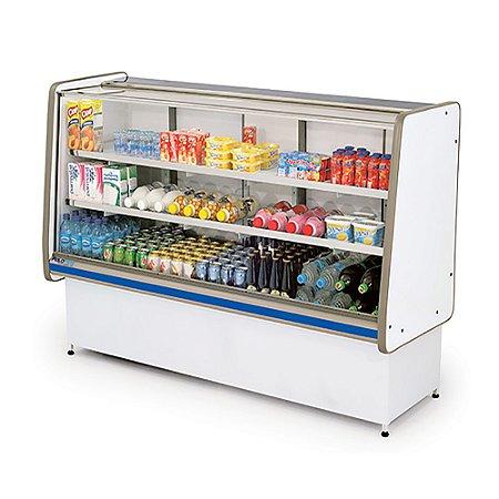 Balcao Refrigerado Vidro Reto com Pista Dupla Pop Luxo Polofrio Branco e Azul  1,50 M 220 V