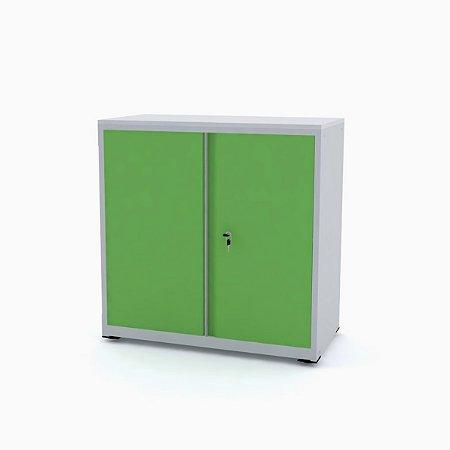 Armario de Aco Baixo com Tampo De Madeira Ap406sl Pandin Cinza e Verde Miro 84 Cm
