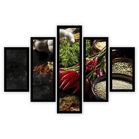 Quadro Mosaico 5 Partes Diferentes Pimenta e Graos Quero Mais Quadros