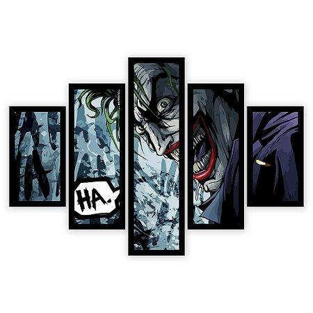 Quadro Mosaico 5 Partes Diferentes Coringa em Quadrinhos Quero Mais Quadros Preto