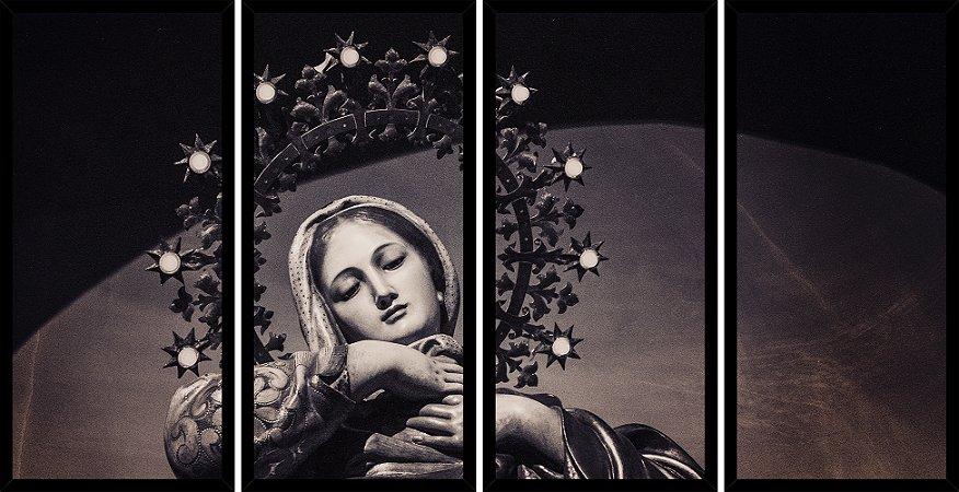 Quadro Mosaico 4 Partes Reto Santissima Virgem Maria Art e Cia Preto