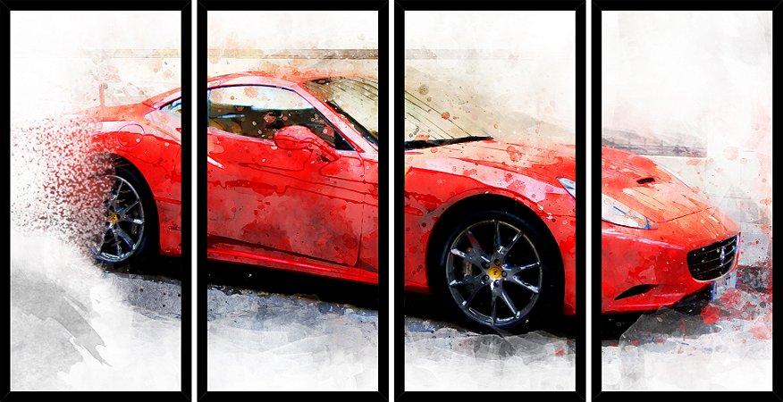 Quadro Mosaico 4 Partes Reto Pintura Carro Vermelho Art e Cia Preto
