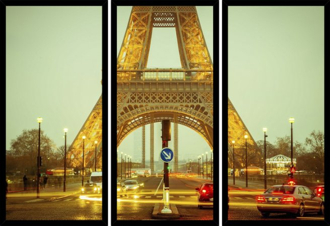 Quadro Mosaico 3 Partes Reto Paris Torre Eiffel Art e Cia Preto