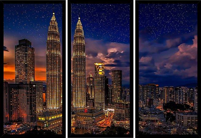 Quadro Mosaico 3 Partes Reto Kuala Lumpur Malasia Art e Cia Preto