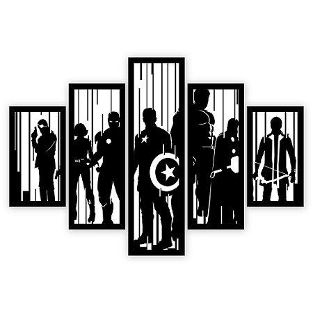 Quadro Mosaico 5 Partes Diferentes Silueta Dos Vingadores Quero Mais Quadros Preto