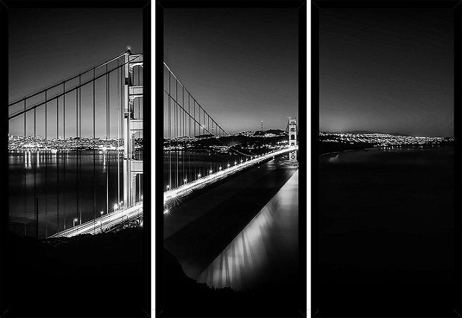 Quadro Mosaico 3 Partes Reto Ponte Golden Gate Art e Cia Preto