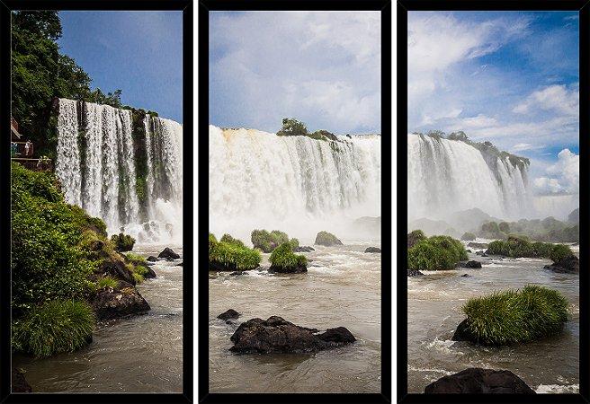 Quadro Mosaico 3 Partes Reto Cataratas Do Iguacu Art e Cia Preto
