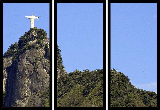 Quadro Mosaico 3 Partes Reto Morro Cristo Redentor Rj Art e Cia Preto