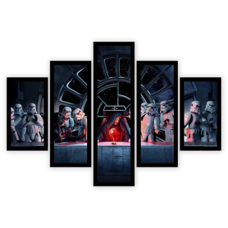 Quadro Mosaico 5 Partes Diferentes Santa Ceia Do Star Wars Quero Mais Quadros Preto