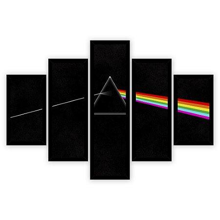 Quadro Mosaico 5 Partes Diferentes Pink Floyd Quero Mais Quadros Preto