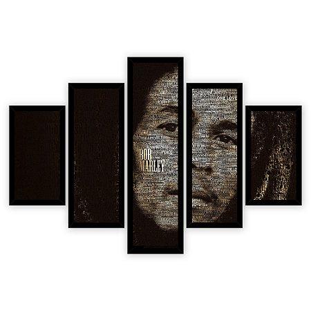 Quadro Mosaico 5 Partes Diferentes Bob Marley Quero Mais Quadros Preto