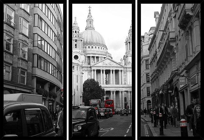 Quadro Mosaico 3 Partes Reto Transito de Londres Art e Cia Preto