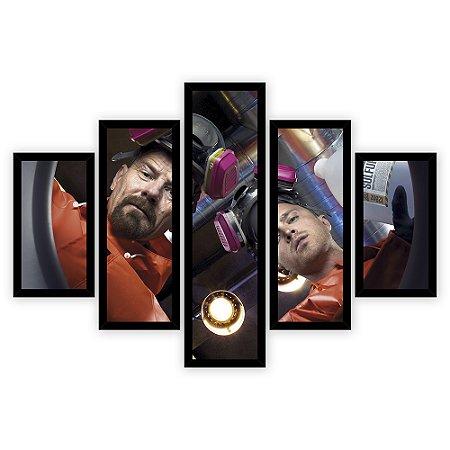 Quadro Mosaico 5 Partes Diferentes Breaking Bad Mascaras de Gases Quero Mais Quadros Preto