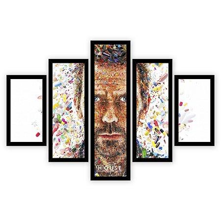 Quadro Mosaico 5 Partes Diferentes Doutor House Quero Mais Quadros Preto