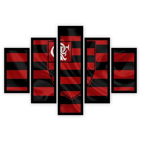 Quadro Mosaico 5 Partes Diferentes Flamengo Quero Mais Quadros Preto