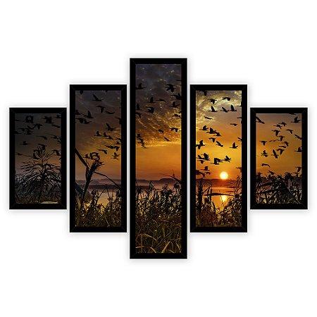Quadro Mosaico 5 Partes Diferentes Passaros Ao Por Do Sol Quero Mais Quadros Preto