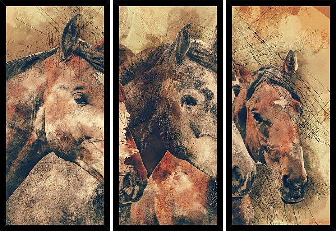 Quadro Mosaico 3 Partes Reto Pintura 3 Cavalos Art e Cia Preto