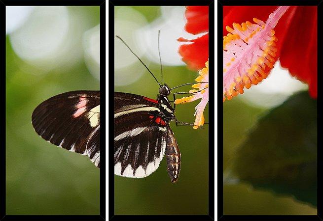 Quadro Mosaico 3 Partes Reto Borboleta Flor Vermelha Art e Cia Preto
