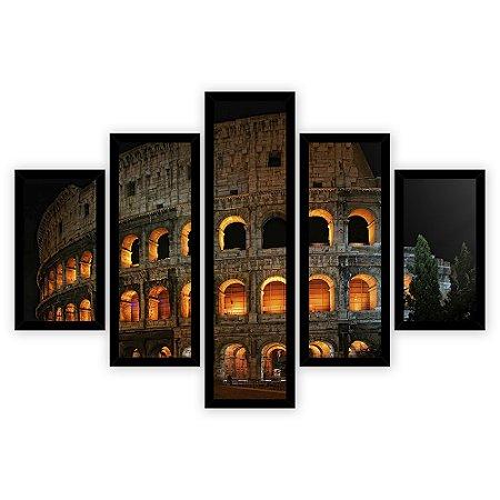Quadro Mosaico 5 Partes Diferentes Coliseu Noturno Quero Mais Quadros Preto