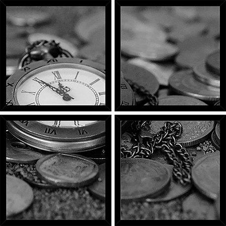 Quadro Mosaico 4 Partes Quadrado Relogio de Bolso com Moedas Art e Cia Preto