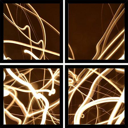 Quadro Mosaico 4 Partes Quadrado Abstrato Luzes Art e Cia Preto