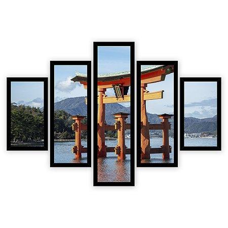 Quadro Mosaico 5 Partes Diferentes Santuario de Itsukushima Quero Mais Quadros Preto