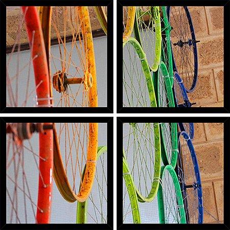 Quadro Mosaico 4 Partes Quadrado Aros Bike Coloridos Art e Cia Preto