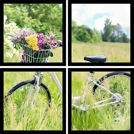 Quadro Mosaico 4 Partes Quadrado Bicicleta Cesta Flores Art e Cia Preto