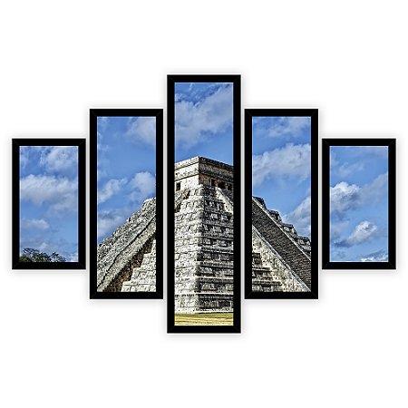 Quadro Mosaico 5 Partes Diferentes Templo Mais de Kukulcan Quero Mais Quadros Preto